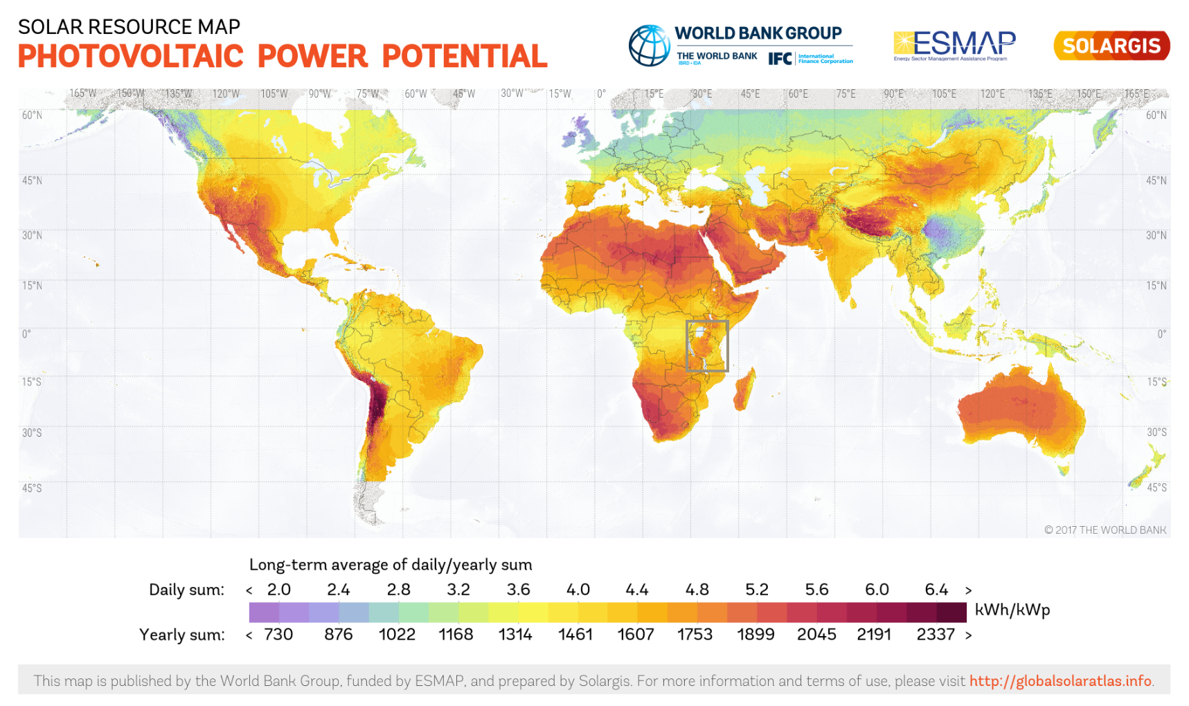 Map of World PV Potential in kWh