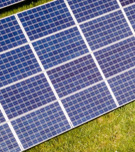 Second part of solar panels in meadow