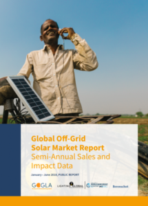 Front of Global Of-Grid Solar Market Report by GOGLA on solar panels sold